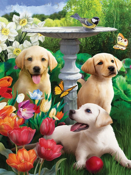 DIY Diamond Painting - Cute Dogs and Flowers - The Dome Inc