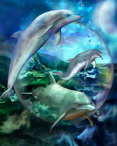 DIY Diamond Painting - Dolphins 2 - The Dome Inc