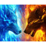 DIY Diamond Painting - Fire and Ice Wolf (SQUARE) - The Dome Inc