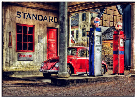 DIY Diamond Painting - Old Gas Station with VW - The Dome Inc