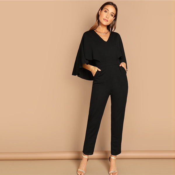 d53e4db69d2 ... Modern Lady Black Elegant V-Neck Solid Cape Long Sleeve Jumpsuit ...