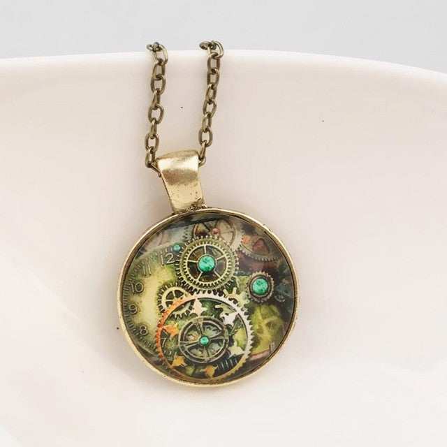 Vintage Mechanical Gear Necklace