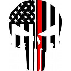 Thin Red Line Flag Punisher Skull Rear Helmet | Decal | Sticker | Vinyl