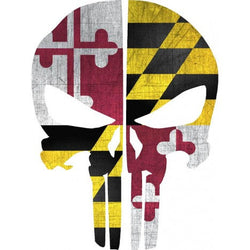 Maryland Flag Punisher Skull Decal | Sticker | Vinyl
