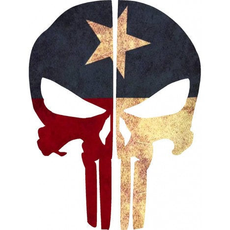 Texas Flag Punisher Skull | Decal | Sticker | Vinyl