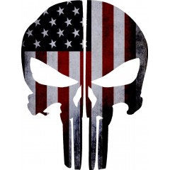 American Flag Punisher Skull Rear Helmer Reflective Helmet Decal |Sticker | Vinyal