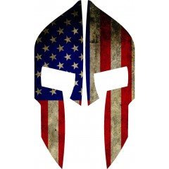 American Flag Spartan Rear Helmet |  Decal | Sticker | Vinyl