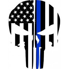 Thin Blue Line Flag Punisher Skull Rear Helmet | Decal | Sticker | Vinyl