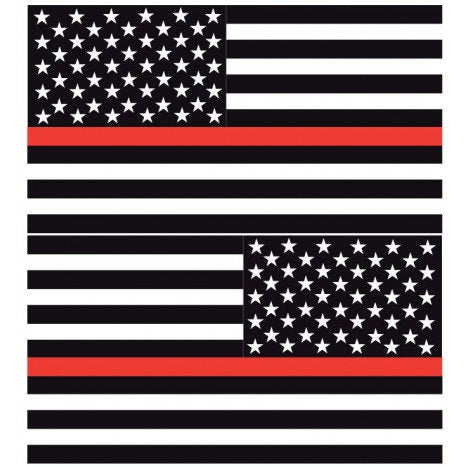 Thin Red Line American Flags | Decal | Sticker | Vinyl