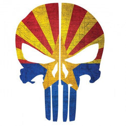 Arizona Flag Punisher Skull Rear Helmet | Decal | Sticker | Vinyl