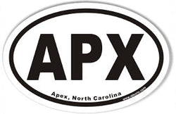 APX Apex North Carolina NC | Oval | Decal | Sticker | Vinyl