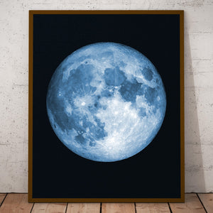 Full Moon Print, Watercolor Effect, Vibrant Colors, Sizes 8x10 to 16x20