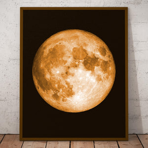 Full Moon Print, Watercolor Effect, Vibrant Colors