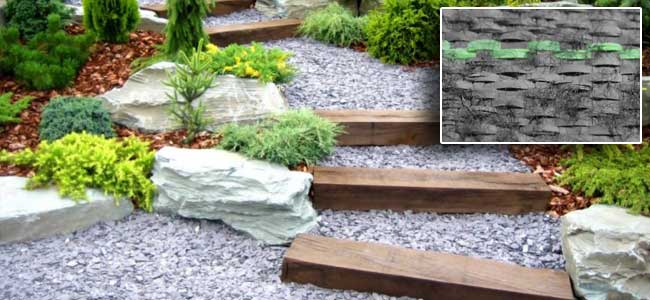 outside gravel landscape steps with weedblock fabric underneath