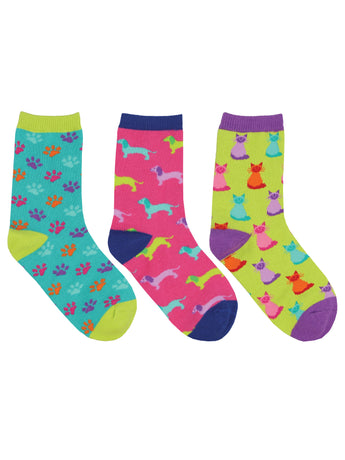 Kid's Paws And Claws 3-Pack Socks