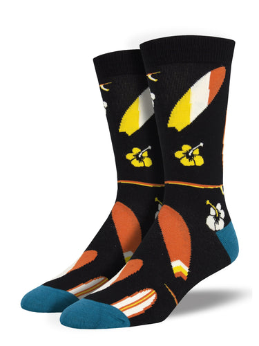 Men's Bamboo Surfboards Socks - Black