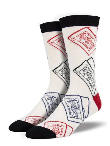 Men's Bamboo Black Jack Socks - White
