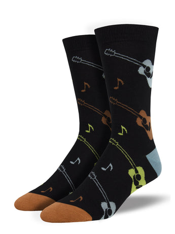 Men's Bamboo Listen To The Music Socks - Black
