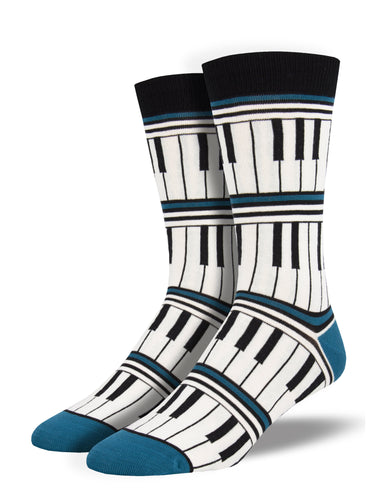 Men's Bamboo Piano Stripe Socks - Blue