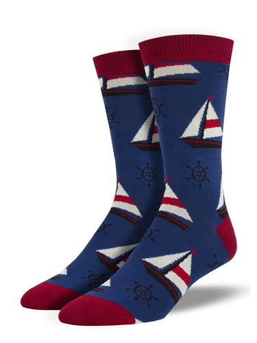 Men's Bamboo Sailboats Socks - Navy