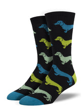 Men's Bamboo Dachshund Socks - Black