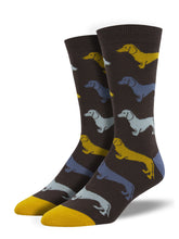 Men's Bamboo Dachshund Socks - Brown