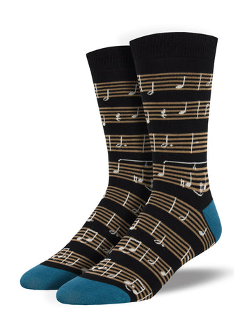 Men's Bamboo Sheet Music Socks - Black