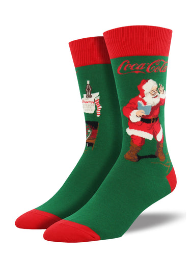 Men's Classic Coke Santa Socks - Green