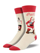 Men's Classic Coke Santa Socks - Ivory