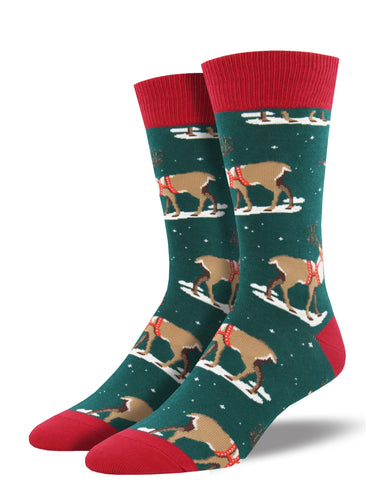 Men's Winter Reindeer Socks - Green