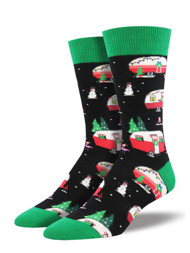 Men's Christmas Campers Socks - Black