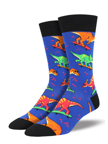 Men's Skate Or Dinosaur Socks - Blue