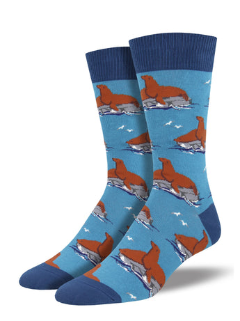 Men's Lion Around Socks - Blue