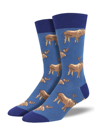 Men's Moose On The Loose Socks - Blue