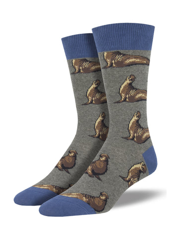 Men's Elephant Seals Socks - Heather grey