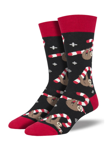 Men's Merry Slothmas Socks - Black