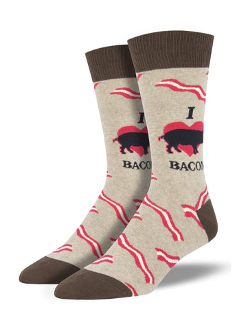 Men's Mmm Bacon Socks - Hemp Heather