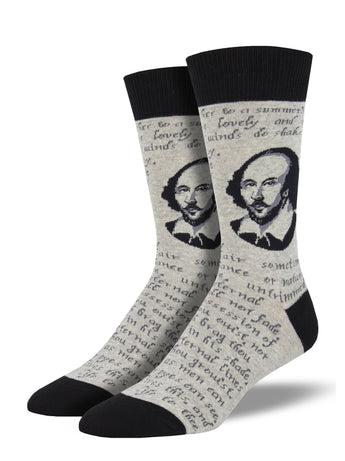 Men's Shakespeare Sonnet Socks - grey Heather