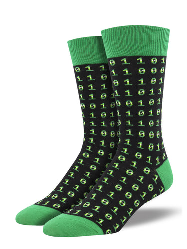 Men's Binary Code Socks - Black