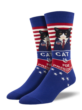 Men's Cat For President Socks - Blue