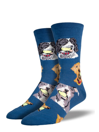 Men's Ball Dog Socks - Blue