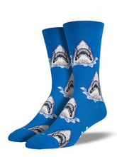 Men's Shark Attack Socks - Blue
