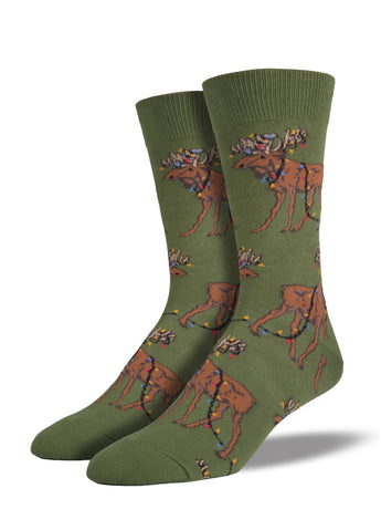 Men's Christmas Moose Socks - Green