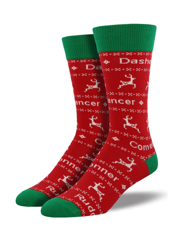 Men's Santa's Reindeer Socks - Red