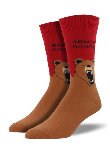 Men's Hangry Bear Socks - Red