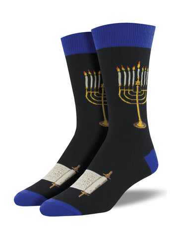 Men's Menorah Socks - Black