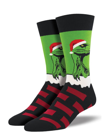 Men's Raptor Claus Socks - Green