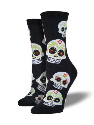 Women's Big Muertos Skull Socks - Black