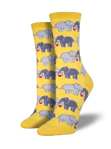Women's Elephant Love Socks - Yellow
