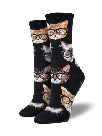 Women's Hipster Kitten Socks - Black